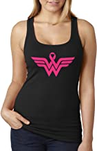 Breast Cancer Awareness Pink Ribbon Superhero Logo Ladies Racerback Tank Top