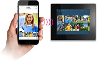 Aluratek 8 Inch Touchscreen Wifi Digital Photo Frame 8GB Memory with Built-In Clock, Calendar, Alarm, Weather