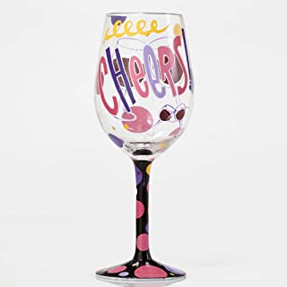 """Designs by Lolita """"Cheers"""" Hand-painted Artisan Wine Glass, 15 oz."""