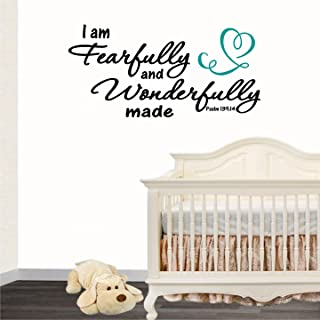 Jeyfel Decals: You are Fearfully and Wonderfully made. Psalm 139:14 Vinyl Wall Decal. Lettering Vinyl Wall Art Inspirational