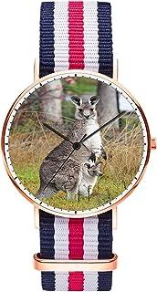 Unique Wrist Watch, CanWatch Oxford Creative Multicolor Watch Strap Modern Watch, Analog Fashion Waterproof Wrist Watches for Men - Kangaroo