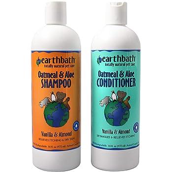 Earthbath Oatmeal & Aloe Shampoo / Conditioner Bundle (Vanilla & Almond) - (1) 16 OZ Shampoo, (1) 16 OZ Conditioner