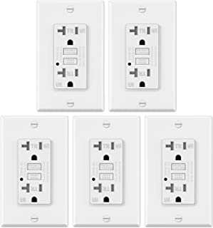 5 Pack � ELECTECK 20A GFCI Outlets, Weather Resistant (WR) GFI with LED Indicator, Tamper Resistant (TR) Ground Fault Circuit Interrupter, Decor Wall Plates Included, ETL Certified, White