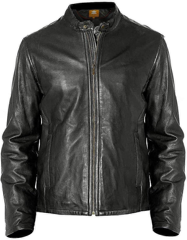 Mens Biker Leather Jacket, Genuine Lambskin Black Jacket, Classic Moto Cafe Racer