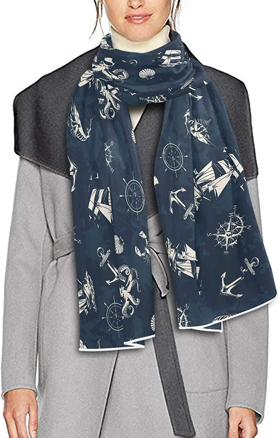 Scarf for Women and Men Vintage Sea Nautical Anchors Blanket Shawl Scarves Wraps Soft Winter Large Scarves Lightweight