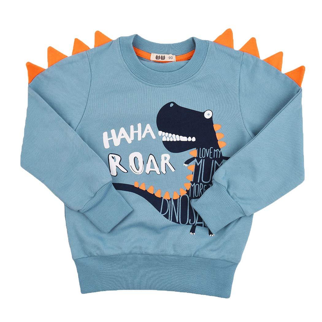 モデルBoy恐竜スウェットシャツ幼児Tシャツ3DプリントTシャツRex Fun Dinoベイビー長袖プルオーバー1-7T