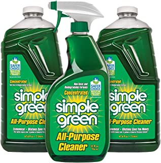 SIMPLE GREEN All-Purpose Cleaner - Stain Remover for Clothing, Fabric & Carpet, Cleans Floors & Toilets, Degreases Ovens & Pans, 32 oz Spray and 2-67.6 oz Refills (Pack of 3) (Sassafras)