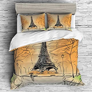 Cotton Bedding Sets Duvet Cover with Pillowcases Printed Comforter Cover Sets(King Size) Paris City Decor,Paris Eiffel Tower with Autumn Leaves in Artistic Sketching Effect Holiday Landmark,