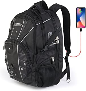 Cross Gear TSA Laptop Backpack with USB Charging Port and Combination Lock- Fits Most 17.3