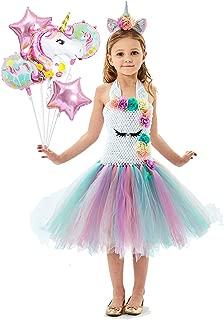 Girls Pastal Unicorn Tutu Dress Unicorn Themed Birthday Party Outfit with Unicorn Balloon Bouquet,Flower Headband