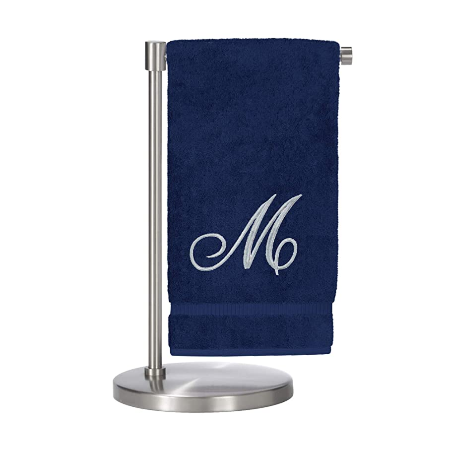 Monogrammed Bath Towel, Personalized Gift, 27 x 54 inches - Set of 1 - Silver Script Embroidered Towel - 100% Turkish Cotton- Soft Terry Finish - for Bathroom or Spa - Script M Navy