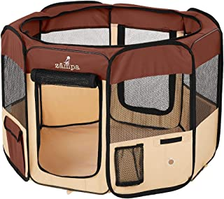 Zampa Portable Foldable Pet playpen Exercise Pen Kennel Carrying Case for Larges Dogs Small Puppies/Cats   Indoor/Outdoor ...