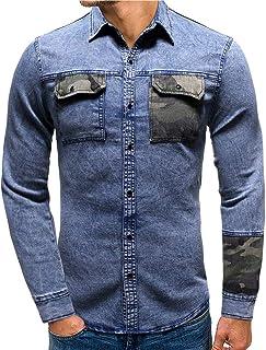 Men's Denim Shirt Regular Fit Long Sleeve Kent Collar Casual Denim Shirt Breathable Comfortable Shirt Camouflage Patchwork...