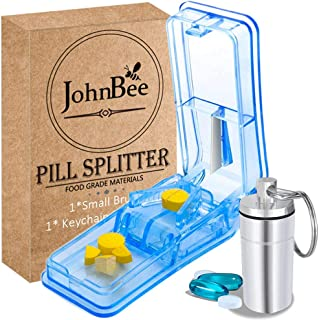 JohnBee Pill Cutter   Best Pill Cutter for Small or Large Pills   Design in The USA  Cuts Vitamins   Pill Splitter with Sa...