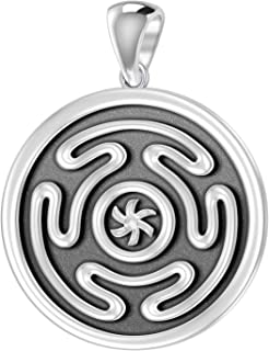 US Jewels And Gems New 0.925 Sterling Silver Greek Wheel of Hecate Charm Pendant