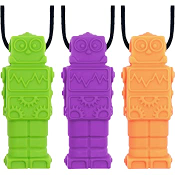 Panny & Mody Robot Sensory Chew Necklaces(3 Pack), Silicone Pendant Chewable Jewelry, Reduce Chewing Biting Fidgeting for Autistic, ADHD, SPD, Oral Motor Children, Kids, Boys and Girls