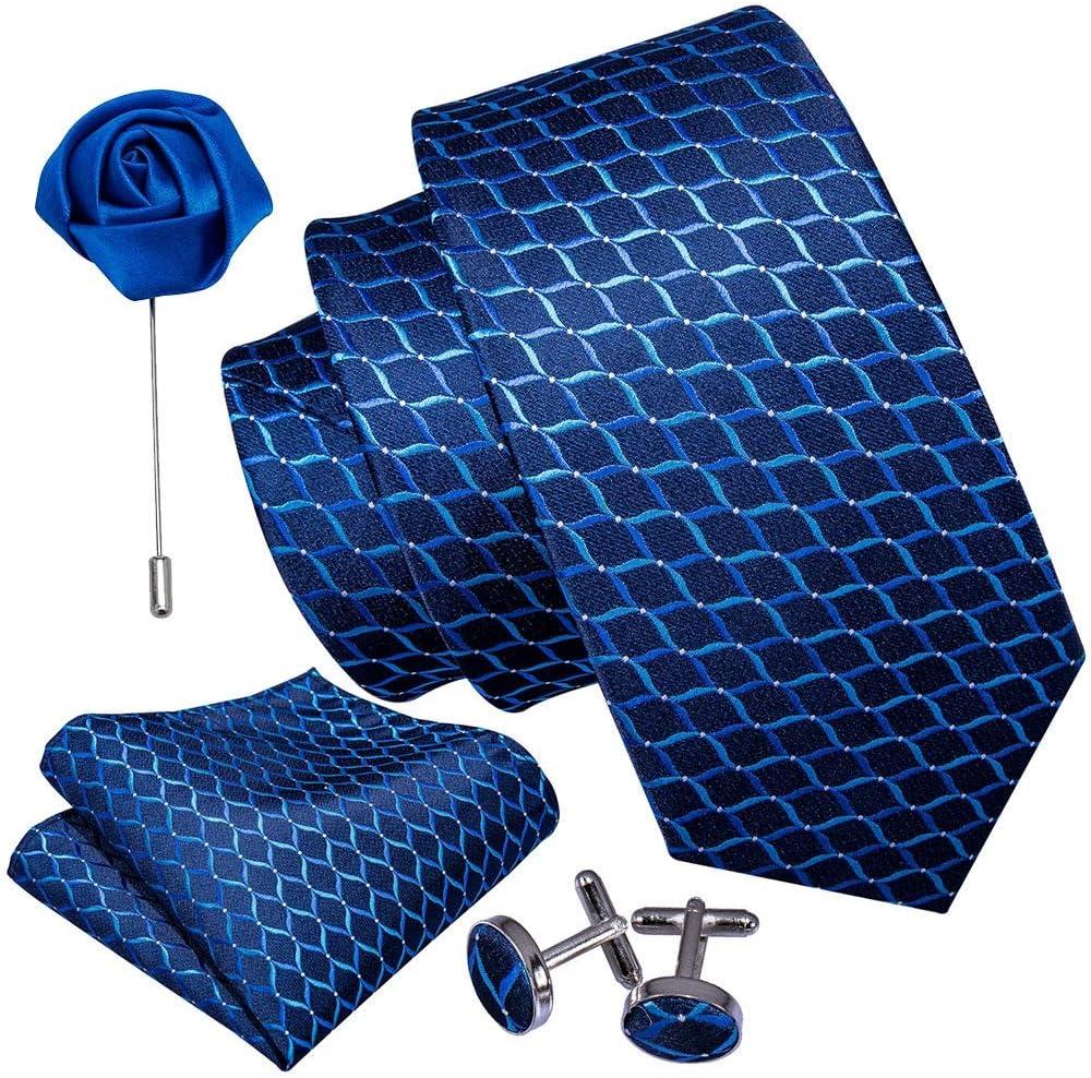 YTGUEVKDH Men Tie Set Blue Wedding Silk Necktie Brooch Handkerchief Cufflink Fashion Designer Ties Compatible with Men Groom Gift