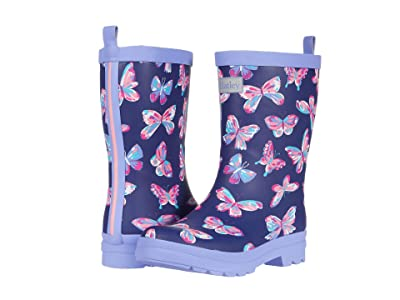 Hatley Kids Butterfly Kaleidoscope Matte Rain Boots (Toddler/Little Kid) (Blue) Girls Shoes