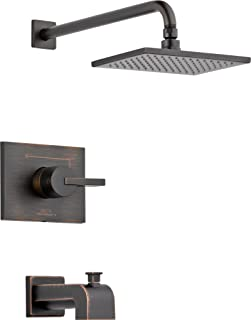 Delta Faucet Vero 14 Series Single-Function Tub and Shower Trim Kit with Single-Spray Touch-Clean Rain Shower Head, Venetian Bronze T14253-RB (Valve Not Included)