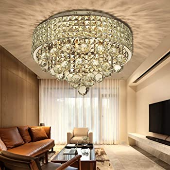 Bestier Antique Silver French Empire Crystal Semi Flush Mount Chandelier Lighting LED Ceiling Light Fixture Lamp for Dining Room Bathroom Bedroom