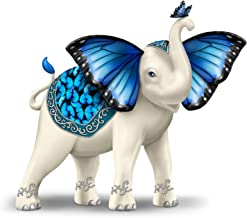 The Hamilton Collection Blue Morpho Butterfly and Elephant Collectible Hand-Painted Figurine