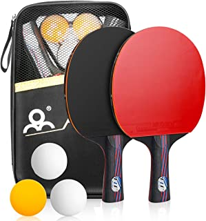 comprar comparacion Powcan Sets de Ping Pong, 2 Raquetas de Ping Pong + 3 Pelotas + 1 Bolsa, Profesionales Palas Ping Pong, Cómodo Mango | Esp...