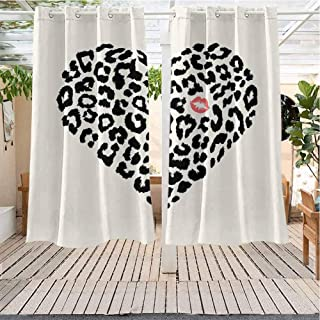 Kiss Porch Curtain Outdoor Waterproof Heart Shape Leopard Skin Pattern and a Kiss Mark Love Valentines Day Honeymoon Darkening Thermal Insulated Blackout W72 x L72 inch Cream Black Coral