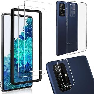 Skärmskydd för Samsung Galaxy A51 5G [2-pack], HD-klart skärmskydd i härdat glas med kameralinsskydd och mjukt stötsäkert ...