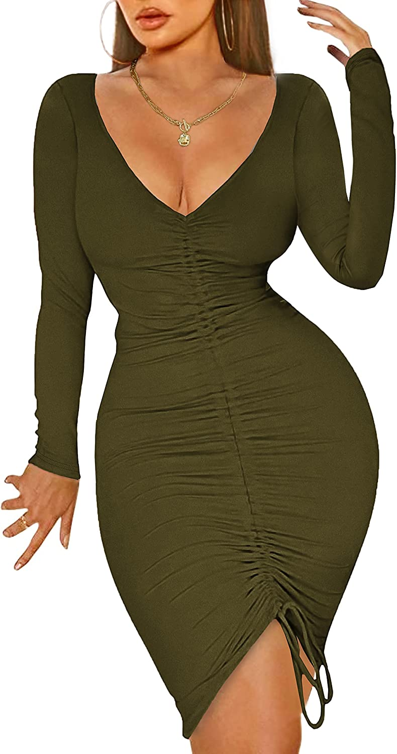 WIHOLL Womens Sexy Long Sleeve Bodycon Dress,V Neck Ruched Party Mini Dress