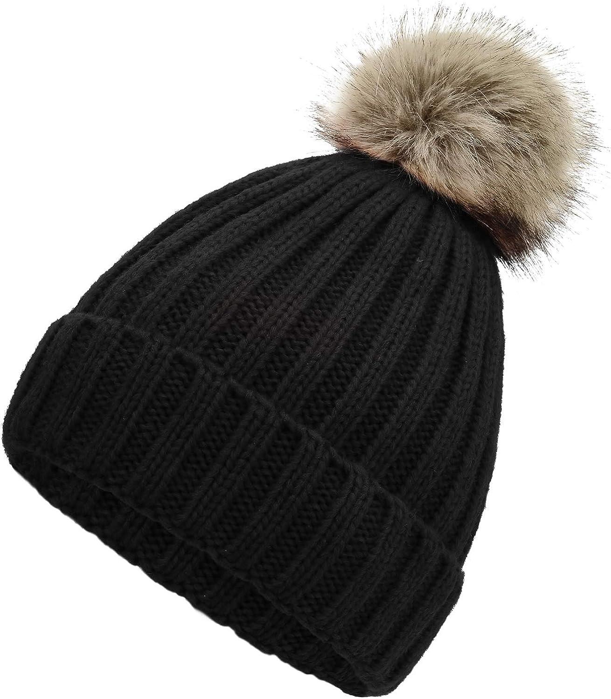 Zando Beanie Hat for Women Pom Pom Beanie Winter Hats for Women Cuffed Cap Slouchy Beanie Red Beanie Knit Hat Fisherman