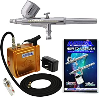 Master Airbrush Multi-Purpose Gold Airbrushing System Kit with Portable Mini Air Compressor - Gravity Feed Dual-Action Air...