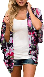 Women's Kimono Floral Print Chiffon Cardigan Capes Beach Swimwear Cover Up