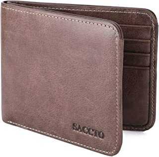 Mens Wallet Genuine Leather Bifold Wallet with Coin Pocket and RFID Blocking