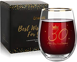 30th Birthday Gifts For Women, Not A Day Over Fabulous, Dirty Thirty Birthday Gift Ideas For Turning 30, Anniversary Presents For Her, Under 20 Dollars, 17oz Birthday Wine Glass