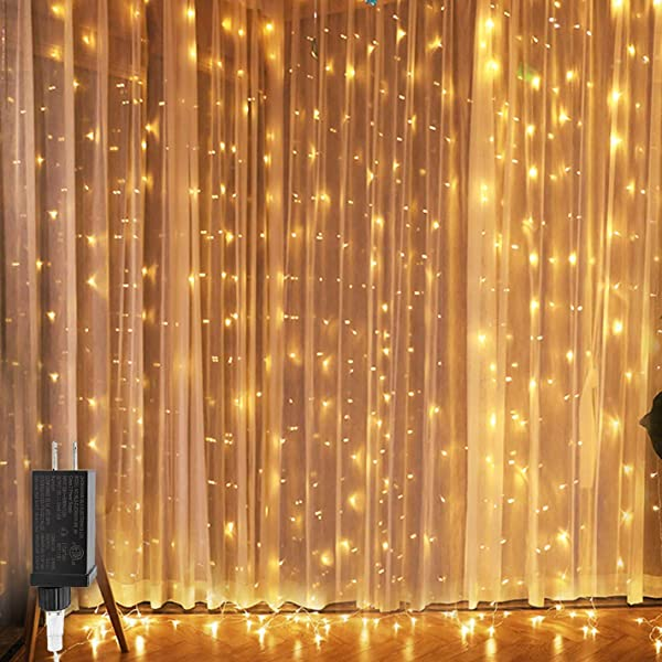 8ft CREASHINE 窗帘灯串月个月 8ft 300 LED 仙女星星灯与月模式对于婚宴家花园庭院卧室背景墙户外室内墙面装饰暖白