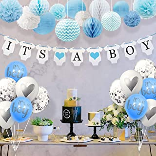 Sweet Baby Co. Baby Shower Decorations For Boy With It's A Boy Banner, Paper Lanterns, Honeycomb Balls, Paper Tissue Pom Poms, Confetti Balloons, Silver Balloon Ribbon (Baby Blue, True Blue, Grey and White)   Baby Shower Decorations Set