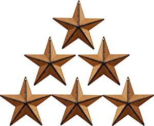 Barn Star,Metal Barn , Star/Metal Star,for Outside Texas Stars Art Rustic Vintage Western Country Home Farmhouse Wall/Door Decor, 4-Inch, Set of 6. (Rust color)