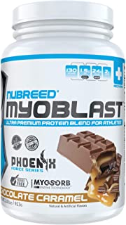 Nubreed Myoblast | Chocolate Caramel | Ultra Premium 4 Protein Blend | Low Carb | Low Calorie | Non-GMO | Gluten Free | NO Added Sugar | Great for Weight Loss & Bodybuilding | 26sv