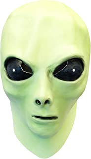 Glow in The Dark Alien Face Mask with Alien Bendable Toy Keychain Green