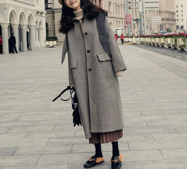 Coat Jacket, Woolen Coat, Autumn and Winter Plaid Woolen Coat, Female Long Section Detachable Cap Small Tartan Woolen Coat XQY