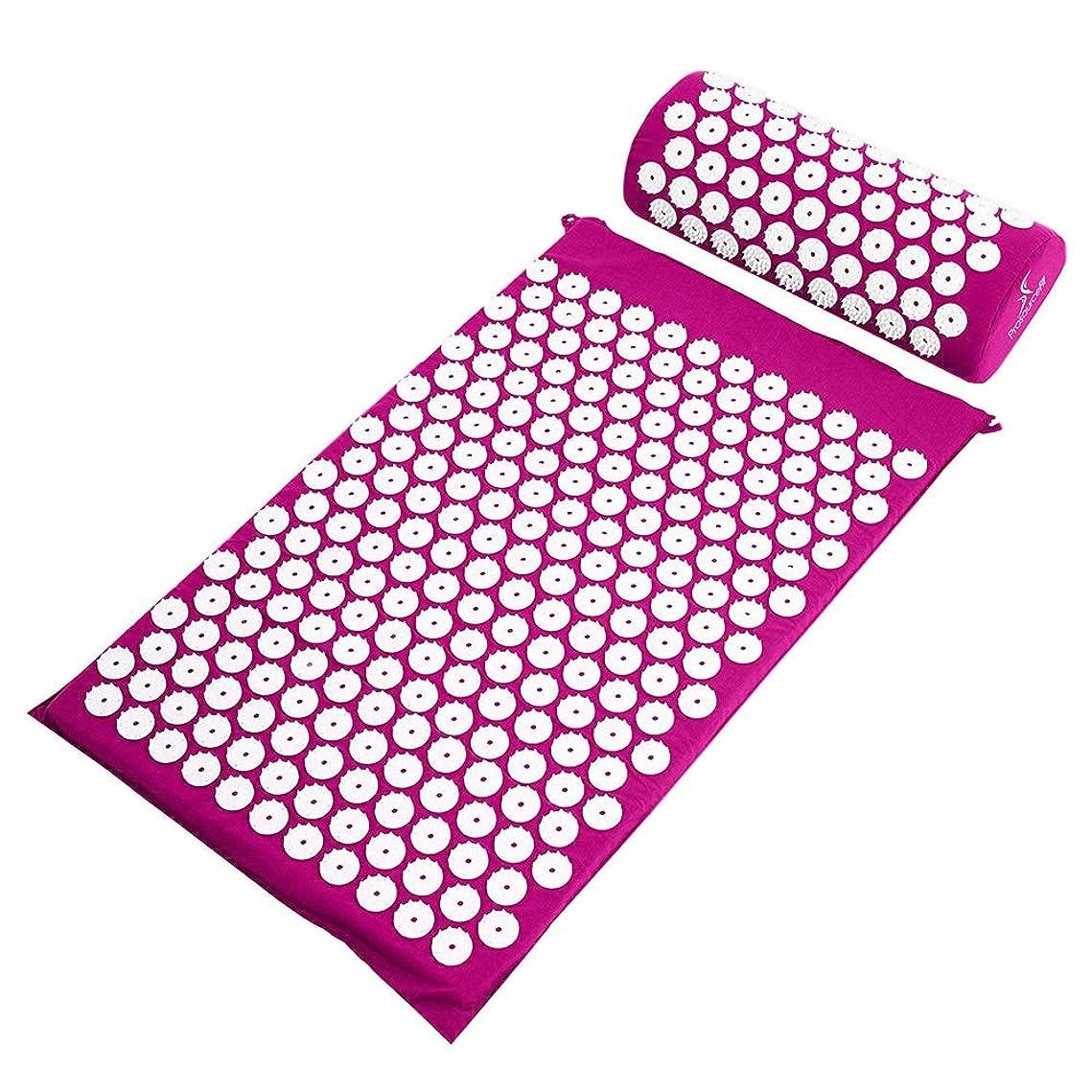 立ち向かう眠りファイアル鍼マッサージパッド+マッサージ枕 - 背中/首の痛みの軽減と筋肉の弛緩のための指のパッドと枕カバーに適しています,Purple