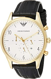 Emporio Armani Men's Ar1892 Dress Black Leather Watch, Analog Display