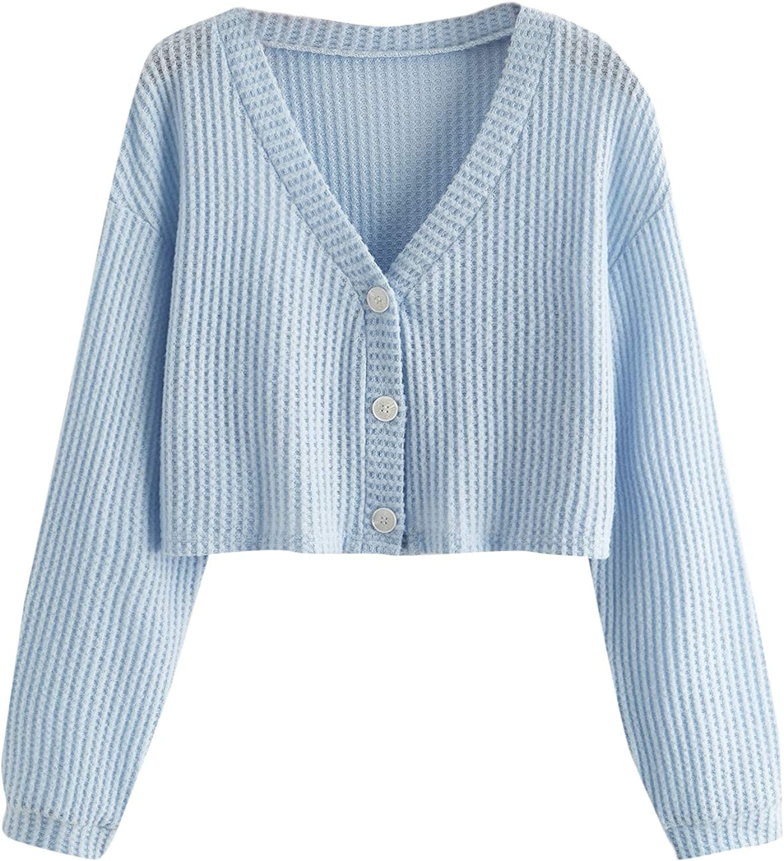 SweatyRocks Women's Long Sleeve Plaid Button Front V Neck Soft Knit Cardigan Sweaters