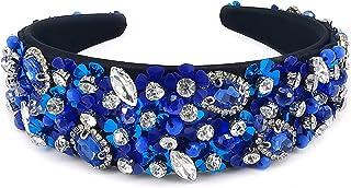 QTMY Flower Crystal Rhinestone Headbands for Women,Hair Hoop Accessories Jewelry Head Band Headwear,306Blue