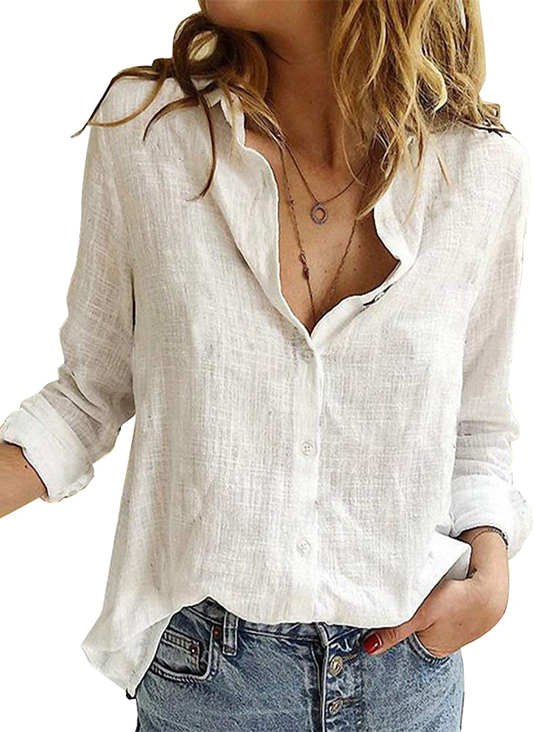 Chase Secret Women's V Neck Cuffed Long Sleeve Plaid Print Shirts Casual Blouses Top