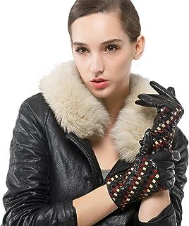 Nappaglo donne vera nappa, guanti di pelle colorata mano tessuti inverno caldo breve guanti