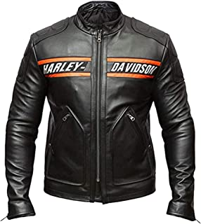 Leather Factory Cafe Racer HD Goldberg Vintage Motorcycle Black Leather Jackets Men
