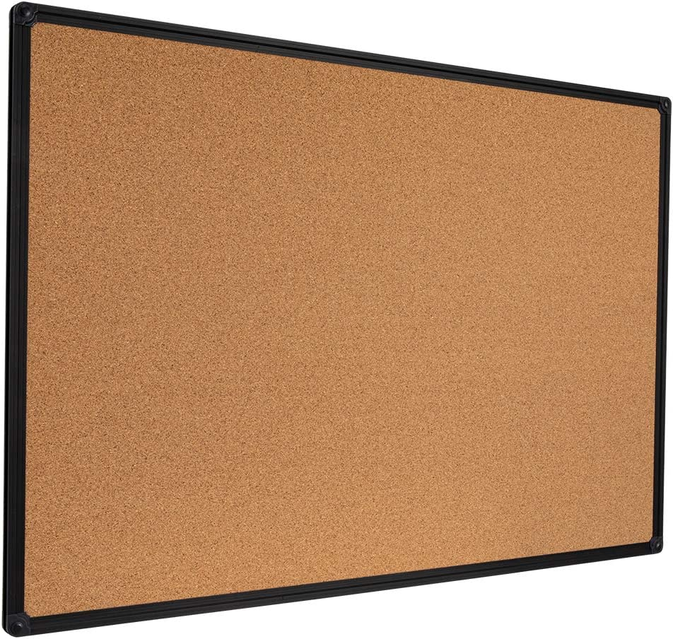 DexBoard Cork Board Bulletin Board for Wall, 24''x36'', Black Frame, Wall Mounted Decorative Hanging Pin Board, Perfect for Display and Organize in Office, School, Home Decor