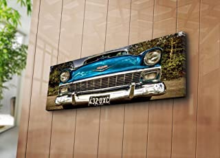 LaModaHome Old Times Canvas Wall Art - Classic Blue Car Near Forest - Wooden Thick Frame Painting, Size (12