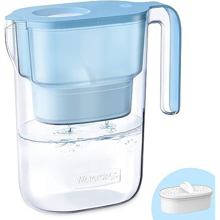 Waterdrop ElfinNSF Certifiée Carafe Filtrante d'eau 2.5L avec 1×90 Jours Filtre, Réduit le Plomb, le Fluorure, le Chlore et Plus, sans BPA, Bleu (Filtre Remplaçable: WD-PF-01A Plus)